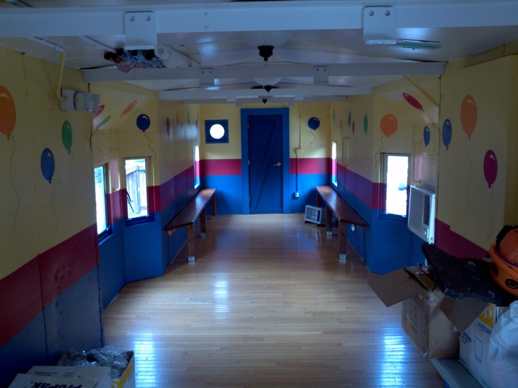 Inside of party caboose