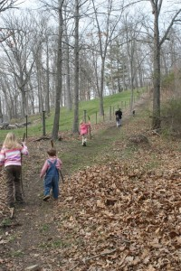 Hiking to the tire swing